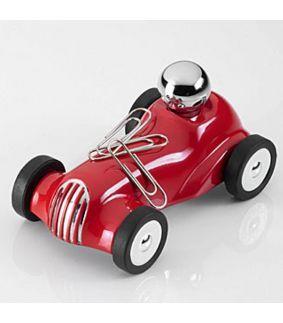 Suport de tinut notite de hartie si agrafe de birou in forma de masina Grand Prix rosie