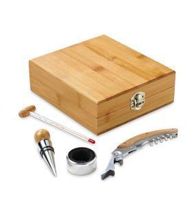 Cutie din bambus cu accesorii pentru vin