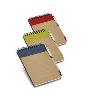 Carnet din hartie reciclata in 3 variante de culori cu pix