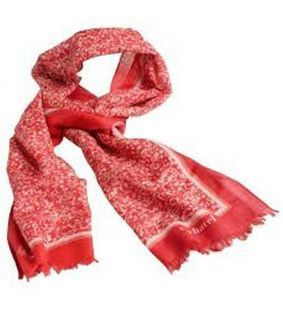Esarfa rosie de lana Giverny