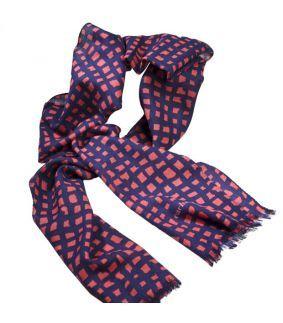 Esarfa din lana Quatuor albastra cu rosu