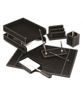 Set de birou din piele neagră 7 piese