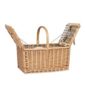Coș de picnic din răchită pentru 4 persoane